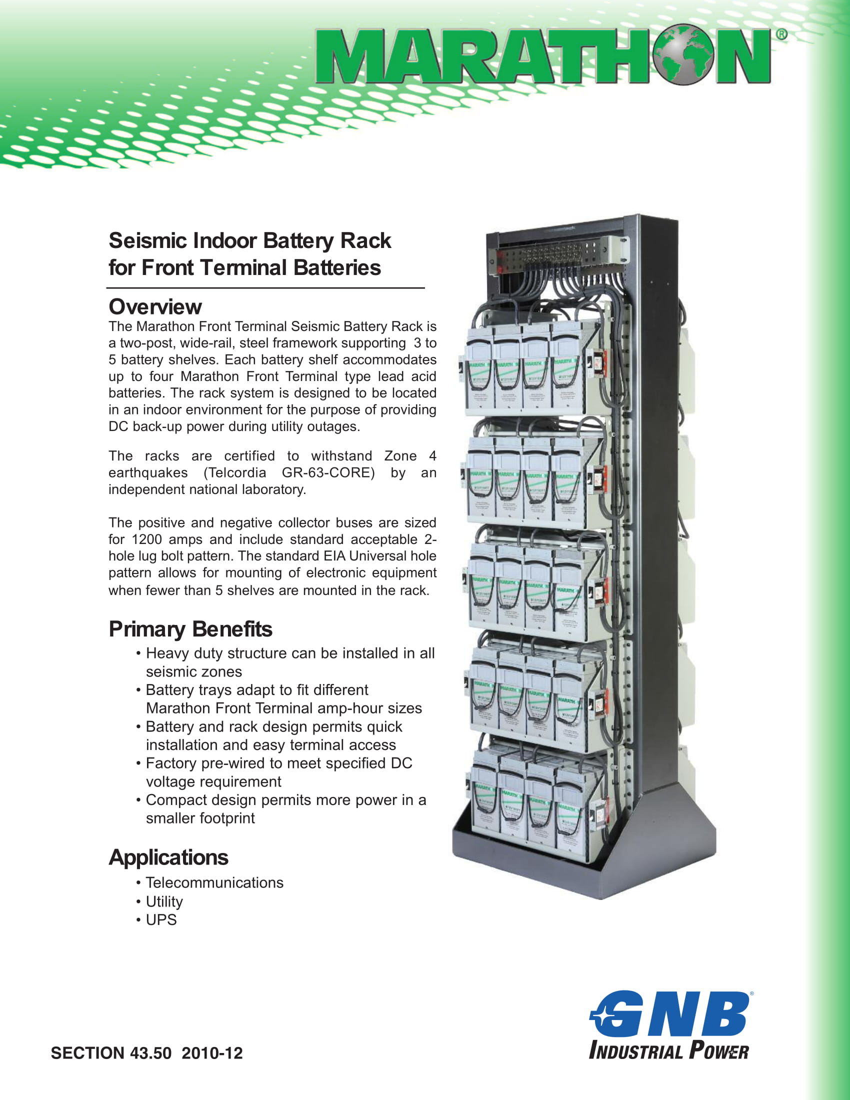 Marathon Battery Racks for front Terminal Batteries 1