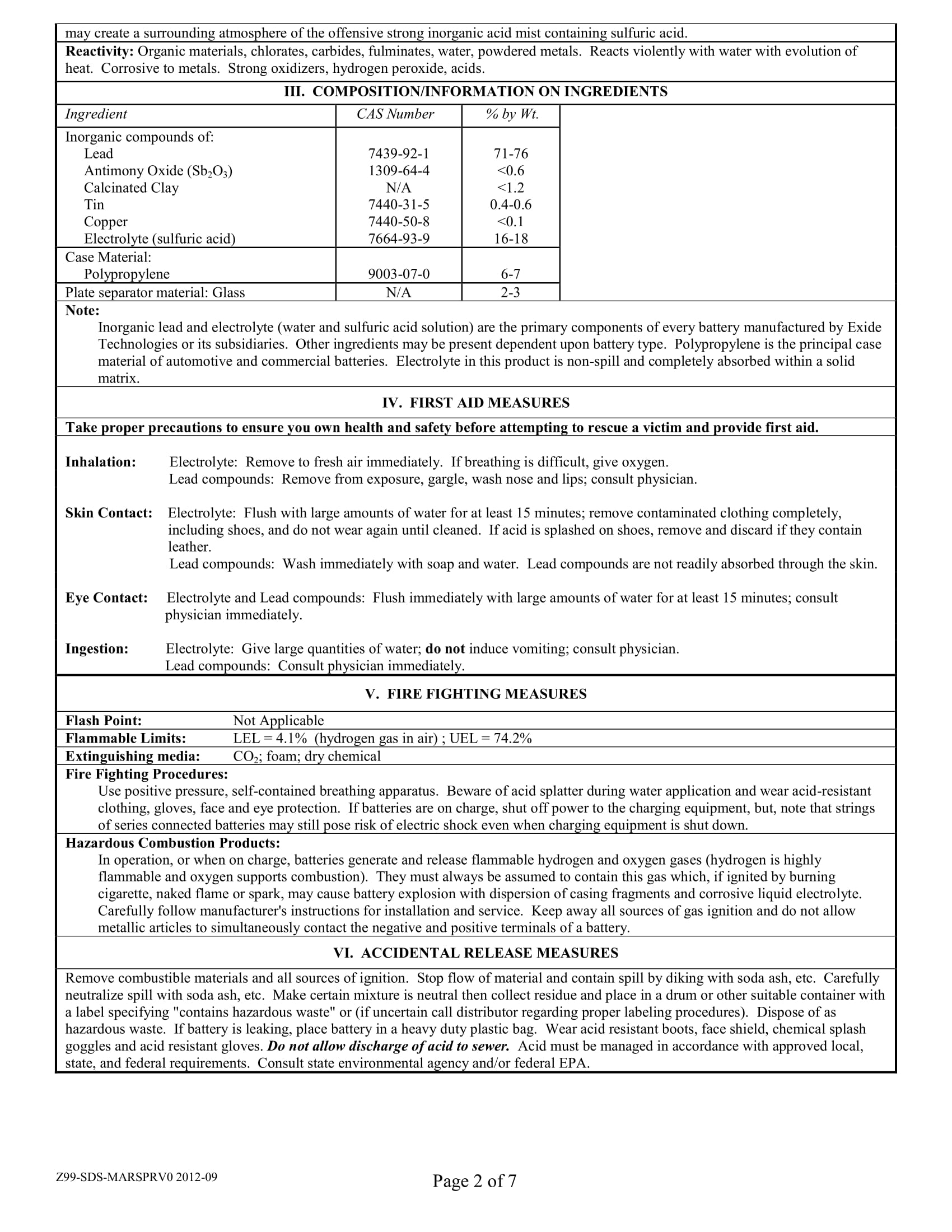 Marathon Batteries Safety Data Sheet