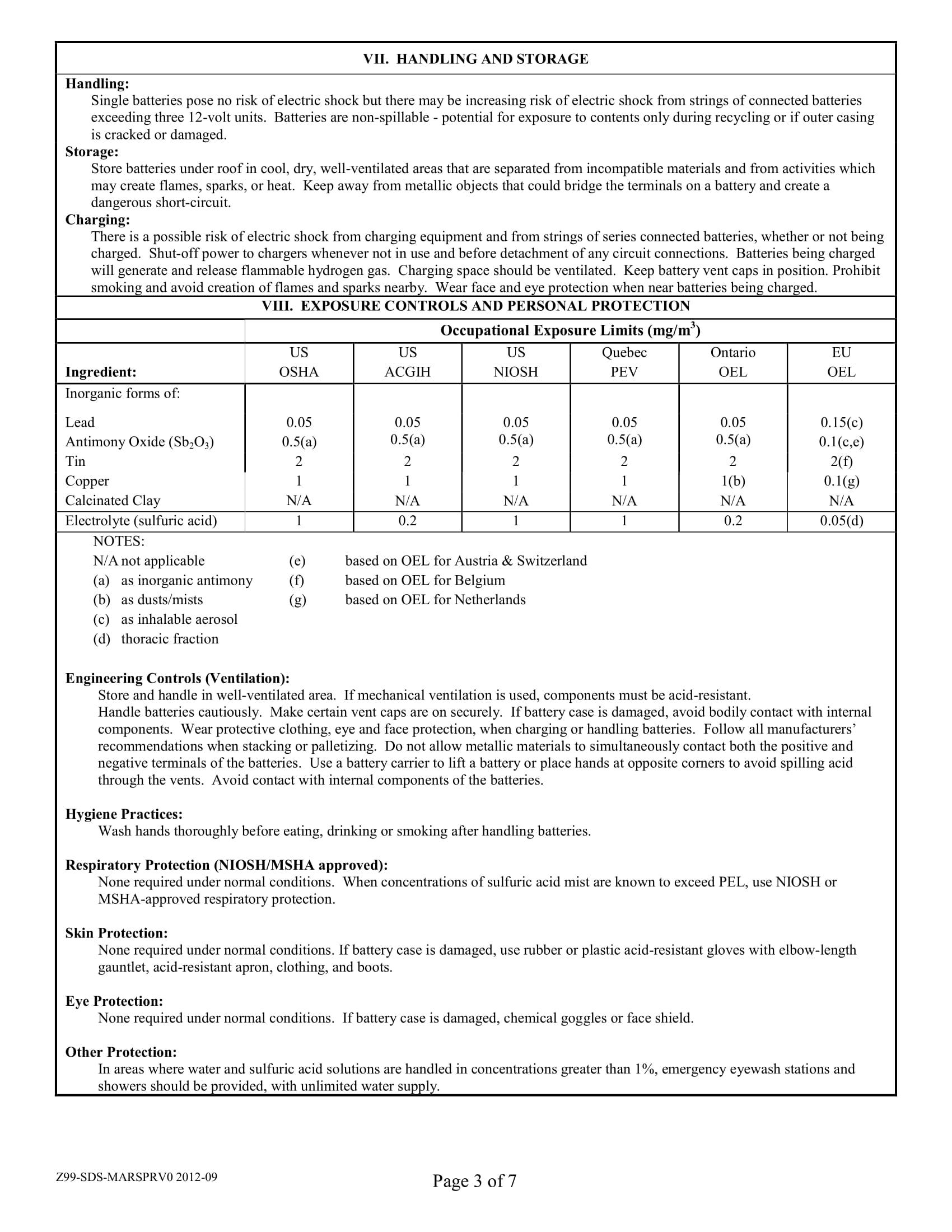Marathon Batteries Safety Data Sheets