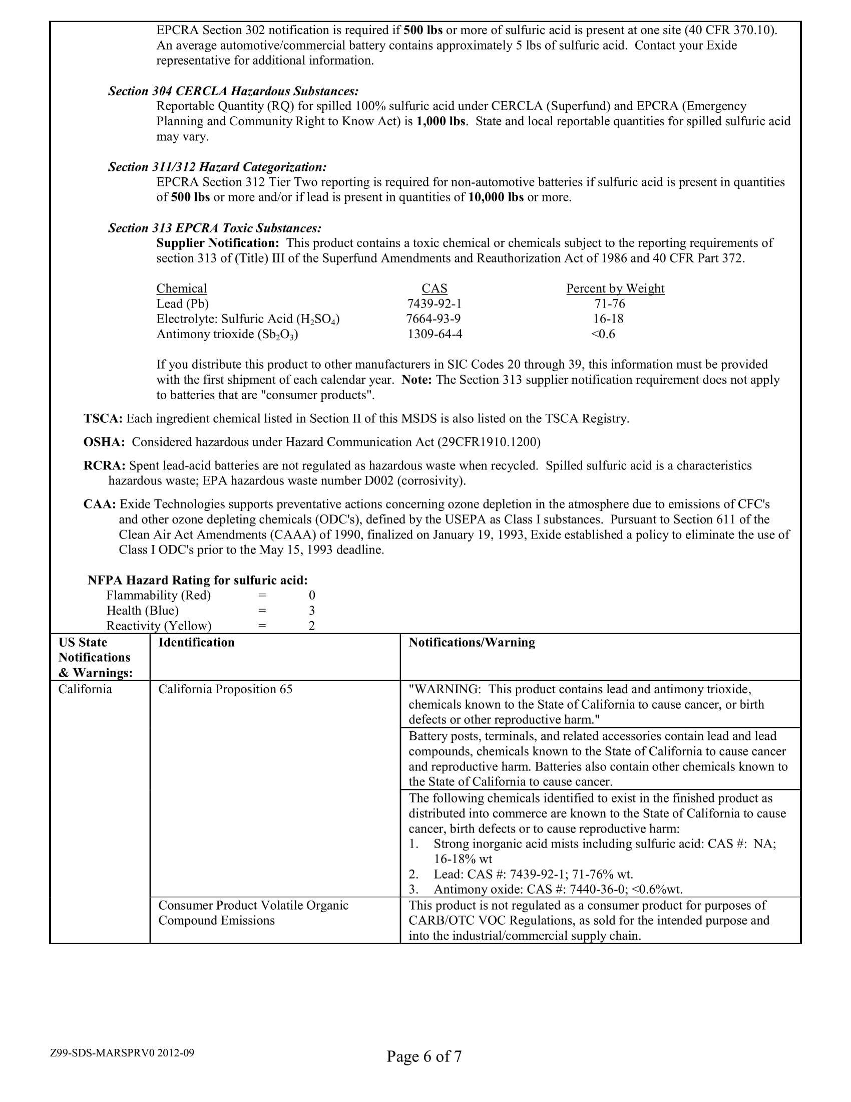 Marathon Battery Safety Data Sheet 6